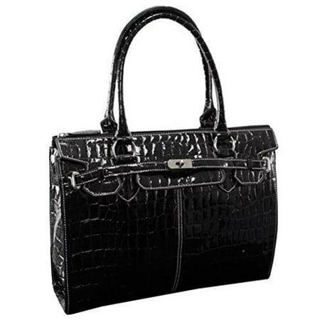 FRANCESCA 11105 Black Faux Patent Croco Leather Ladies' Business Tote