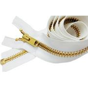 "ZipperStop Wholesale Authorized Distributor YKK® 27"" inch Medium Weight Jacket Zipper YKK #5 Brass ~ Separating ~ 501 White (1 Zipper/pack)"
