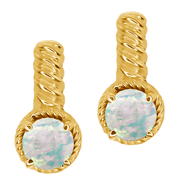 1.30 Ct Round White Simulated Opal Gold Plated 925 Silver Earrings