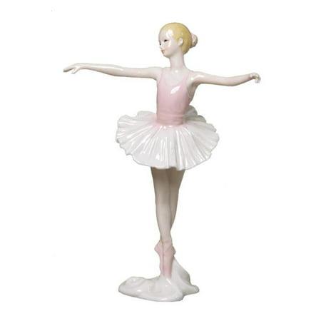 Graceful Porcelain - 8.75 Inch Porcelain Figurine Graceful Ballerina En Pointe Pink Tutu