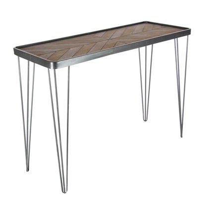 - Decmode Modern 29 x 39 inch wood and iron chevron console table, Brown