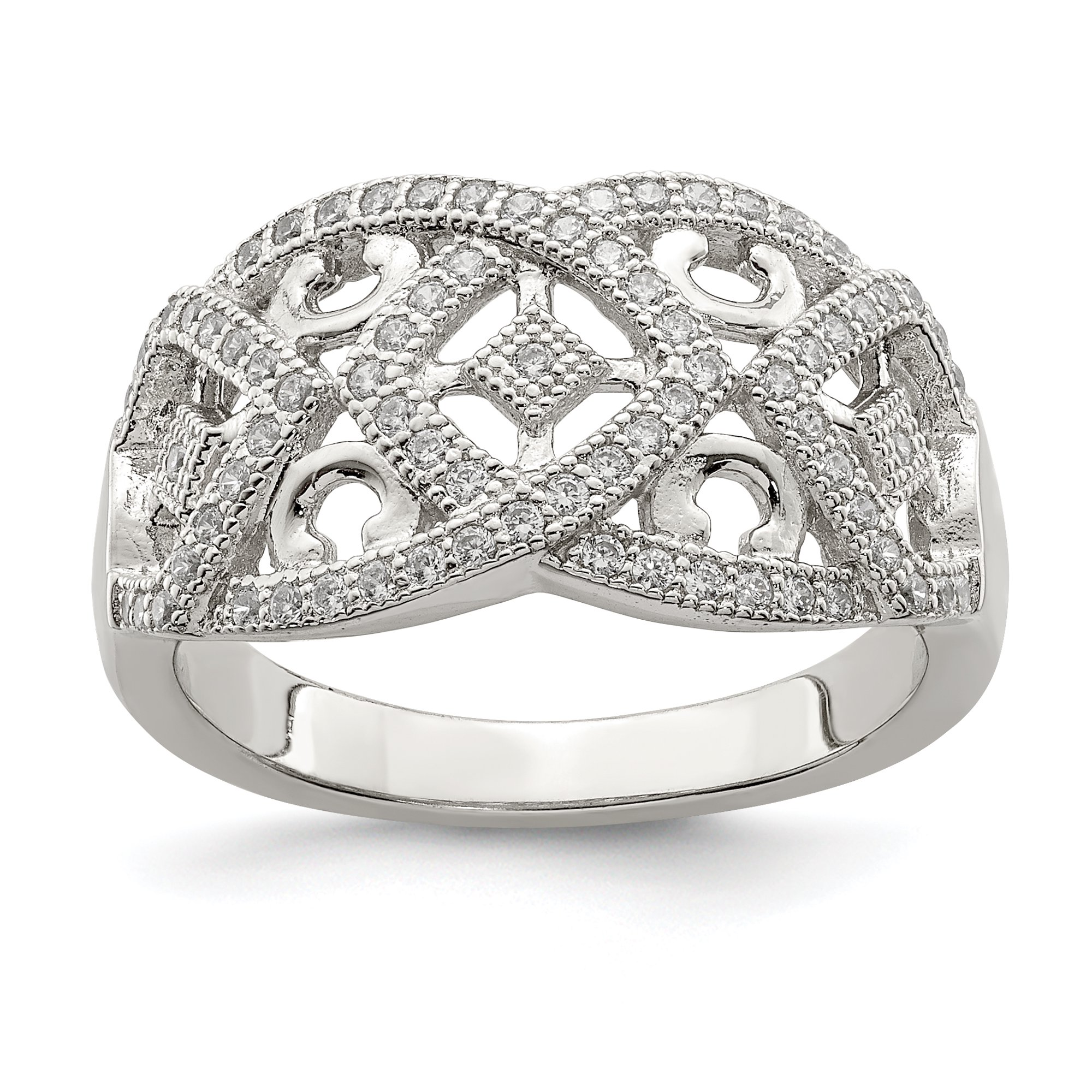 It is a photo of 50 Sterling Silver Micro Intricate Designs Band Ring Size 50.50 Fine Jewelry Gifts For Women For Her