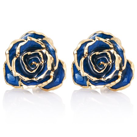 24k Stud (24K Gold Flower Earrings Studs,Birthday/Anniversary/Valentines Gift for)