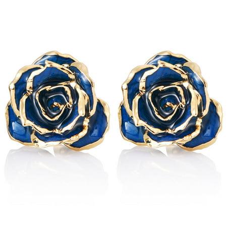 24k Chain Earrings (24K Gold Flower Earrings Studs,Birthday/Anniversary/Valentines Gift for Her)