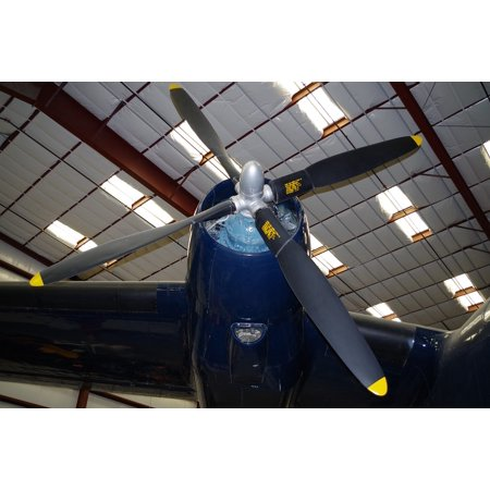 Canvas Print Military Blue Propeller Plane Stretched Canvas 10 x