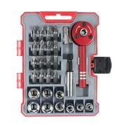 PENGGONG 28pcs Ratcheting Screwdriver Set with 9 Sockets & 16 Bits Multifunctional 28-Piece Home Tool Kit Ratchet Screwdriver & Bit Kit with Storage Case