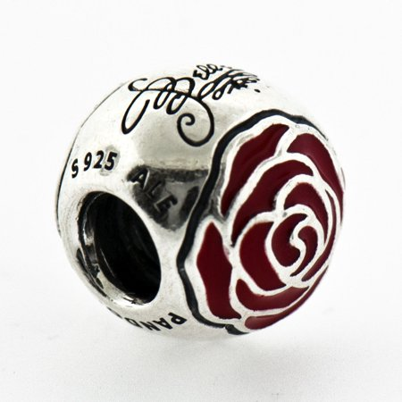 Authentic 791575EN09 Charm Disney, Belle's Enchanted Rose with Red Enamel