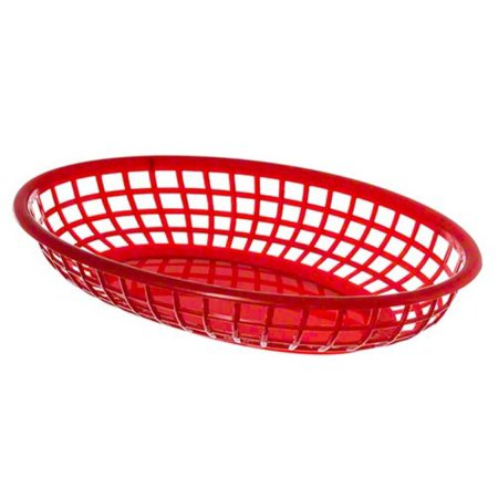 (BB96R) Oval Fast Food Baskets [Set of 12], Sturdy construction eliminates sagging and spillage By Update International