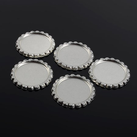 Sonew 100pcs Flat 1  Silver Color Tinplate Bottle Caps Lids Cover without Hole, Bottle Cork, Seal - image 4 of 7