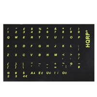 HQRP English Keyboard Stickers With Yellow Lettering on Black Background for Black Keyboard Suit for All PC and Laptops
