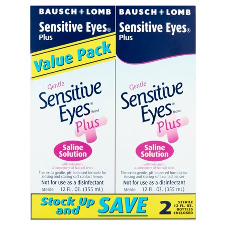 Bausch & Lomb Gentle Sensitive Eyes Plus Saline Solution Value Pack, 12 fl oz, 2 - Cheap Eye Contact Lenses Halloween