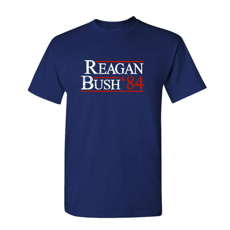 REAGAN BUSH 84 - retro funny july 4th usa - Mens Cotton T-Shirt Anti Bush Tee Shirts