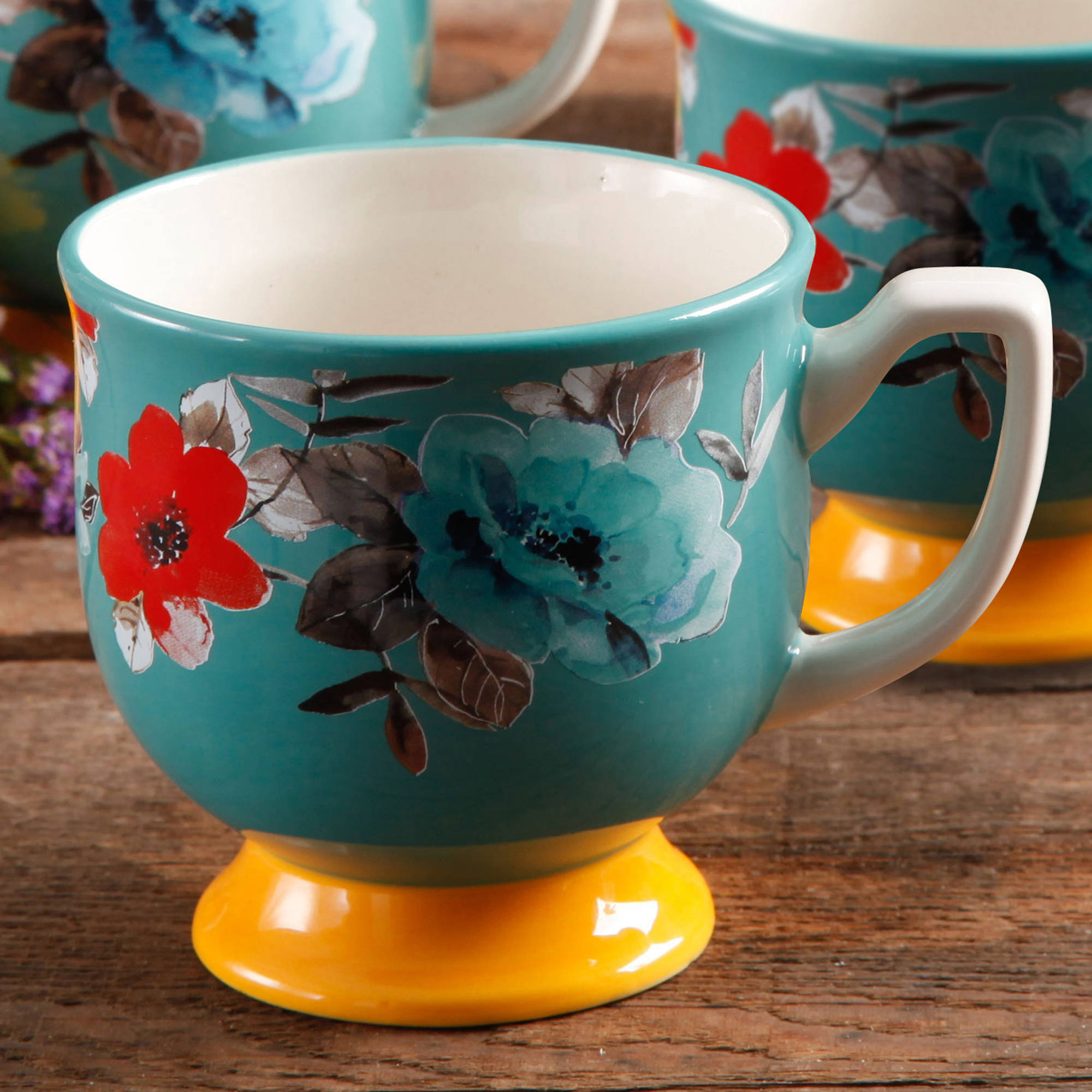 9e9fc7d22d98 The Pioneer Woman Flea Market Turquoise/Yellow Footed Mug - Walmart.com