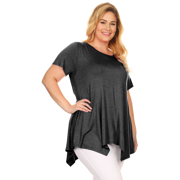 4477bc69d4c3e5 Simlu Plus Size Short Sleeve A-Line Tunic Tops with Handkerchief Hem - USA  Image