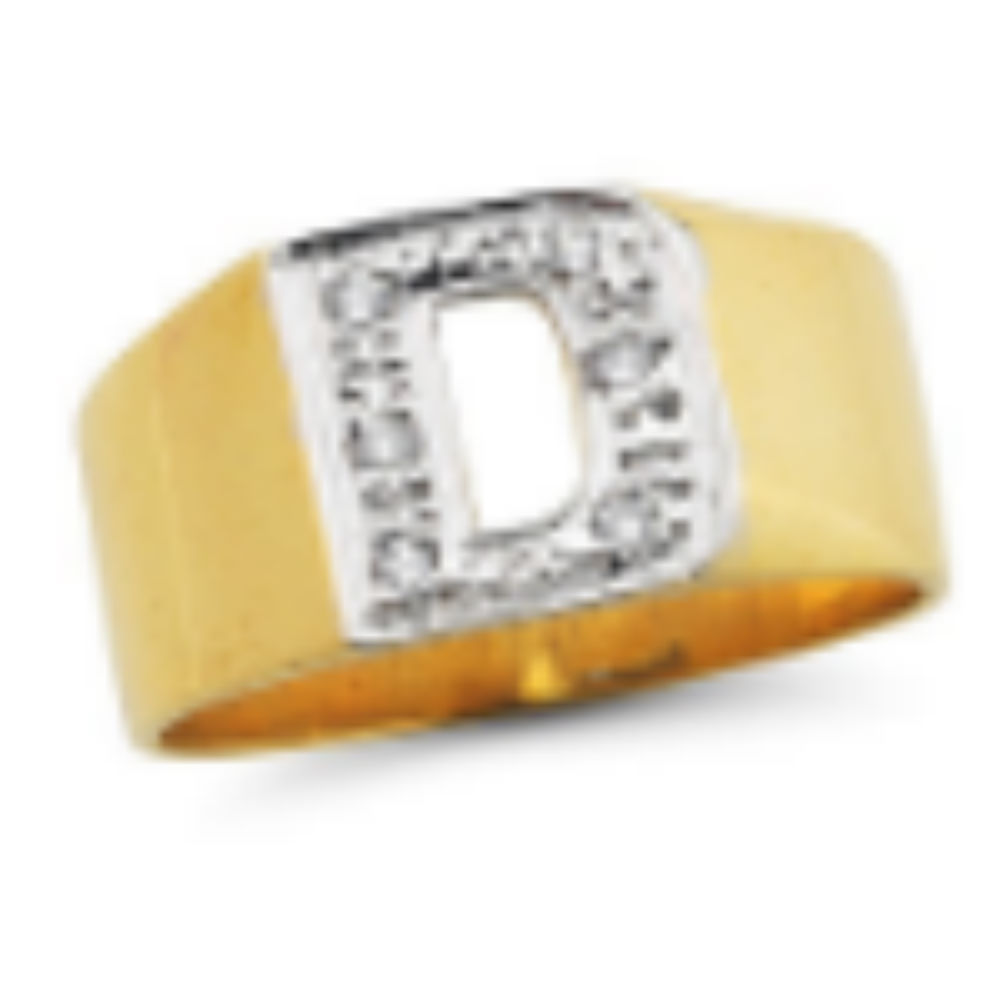 Personalized Diamond Initial (Any Initial) Ring 8MM Sterling Silver or Yellow Gold Plated Silver. Special Order, Made to Order.