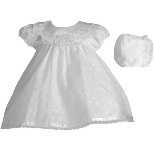 Christening Baptism Newborn Baby Girl Special Occasion Cotton Cross Embroidered Dress Gown Outfit w/ Bridal Satin Collar