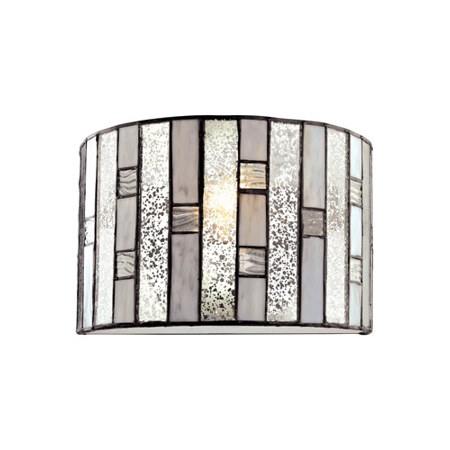 Wall Sconces 1 Light With Tiffany Bronze Finish Mercury Glass With Clear Rippled And Gray Art Glass Inserts Medium Base 11 inch 60 Watts - World of Lamp
