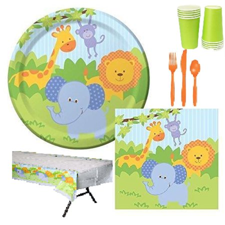 81 pcs JungleForest Friends 8 Guest Starter Party Pack - Cups | Plates | Napkins](Kids Party Plates And Cups)