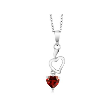 0.55 Ct Red Garnet 925 Sterling Silver Heart Pendant With -