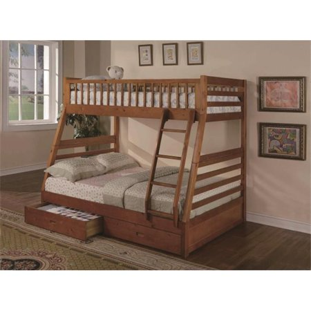 Myco Furniture 9080 O St Oak Boise Twin Full Size Bunk Bed With Storage
