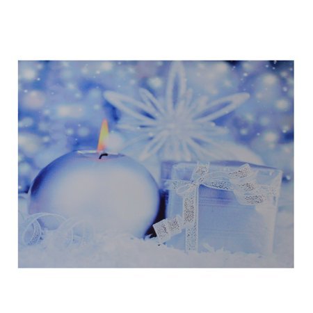 LED Lighted Candle and Gift Wintry Scene Christmas Canvas Wall Art 12