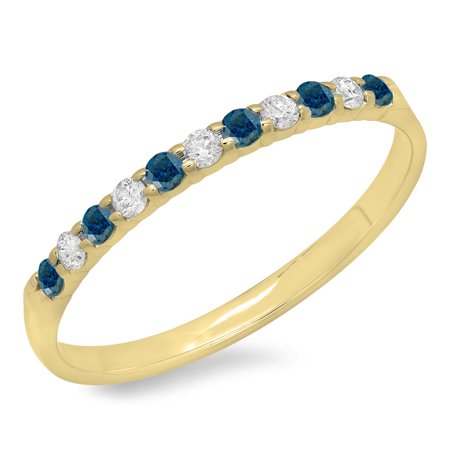 Dazzlingrock Collection 0.20 Carat (ctw) 10K Round Blue & White Diamond Ladies Wedding Band 1/5 CT, Yellow Gold, Size 6