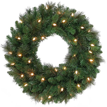 Holiday Time 24inch Brownsville Pine Wreath Clear