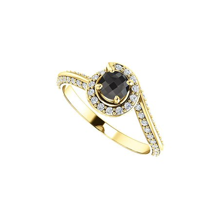 Black Onyx and Cubic Zirconia Swirl Style Halo Ring