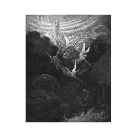 The Archangel Michael and His Angels Fighting the Dragon, 1865-1866 Print Wall Art By Gustave Doré (Fighting Angel)