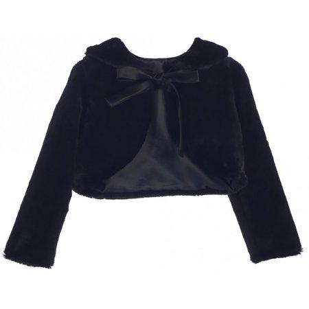 Girl Dress Coat (Little Girl Long Sleeve Ribbon Faux Fur Dress Coat Flower Girl Bolero Jacket USA Black 2 SK C35 BNY)