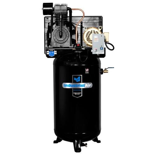 industrial air iv7568075 7 5 hp 460v 80 gallon baldor powered vertical stationary air compressor