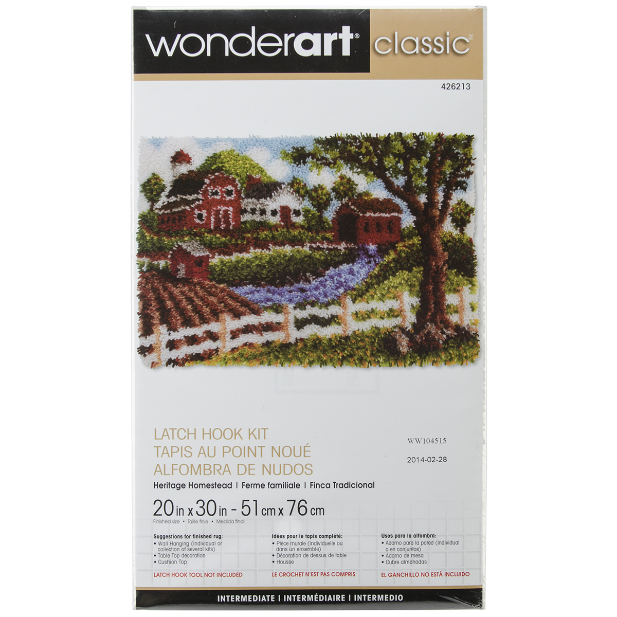 "Wonderart Classic Latch Hook Kit, 20"" x 30"", Heritage Homestead"