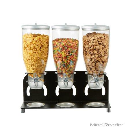 Mind Reader Heavy Duty Metal Cereal Triple Dispenser, 18 1/2w x 5.93d x 17 1/4h, Black/Clear -EMSKELL300BLK (Cereal Dispenser Triple)
