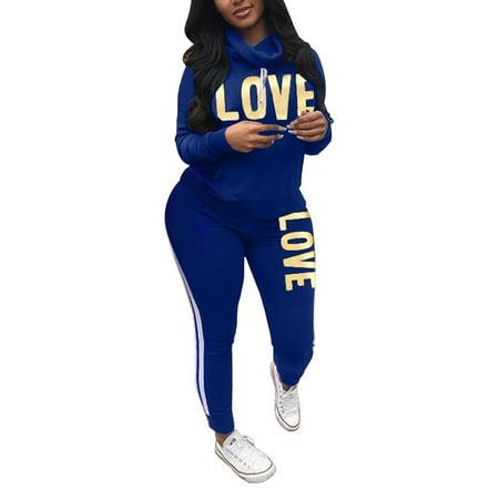 Plus Size S-3XL Women Ladies Long Sleeve Letter Heap Collar Tracksuit Tops Joggers Pants 2Pcs Set Lounge Wear Casual Sport Suit Casual Lounging Pant Set