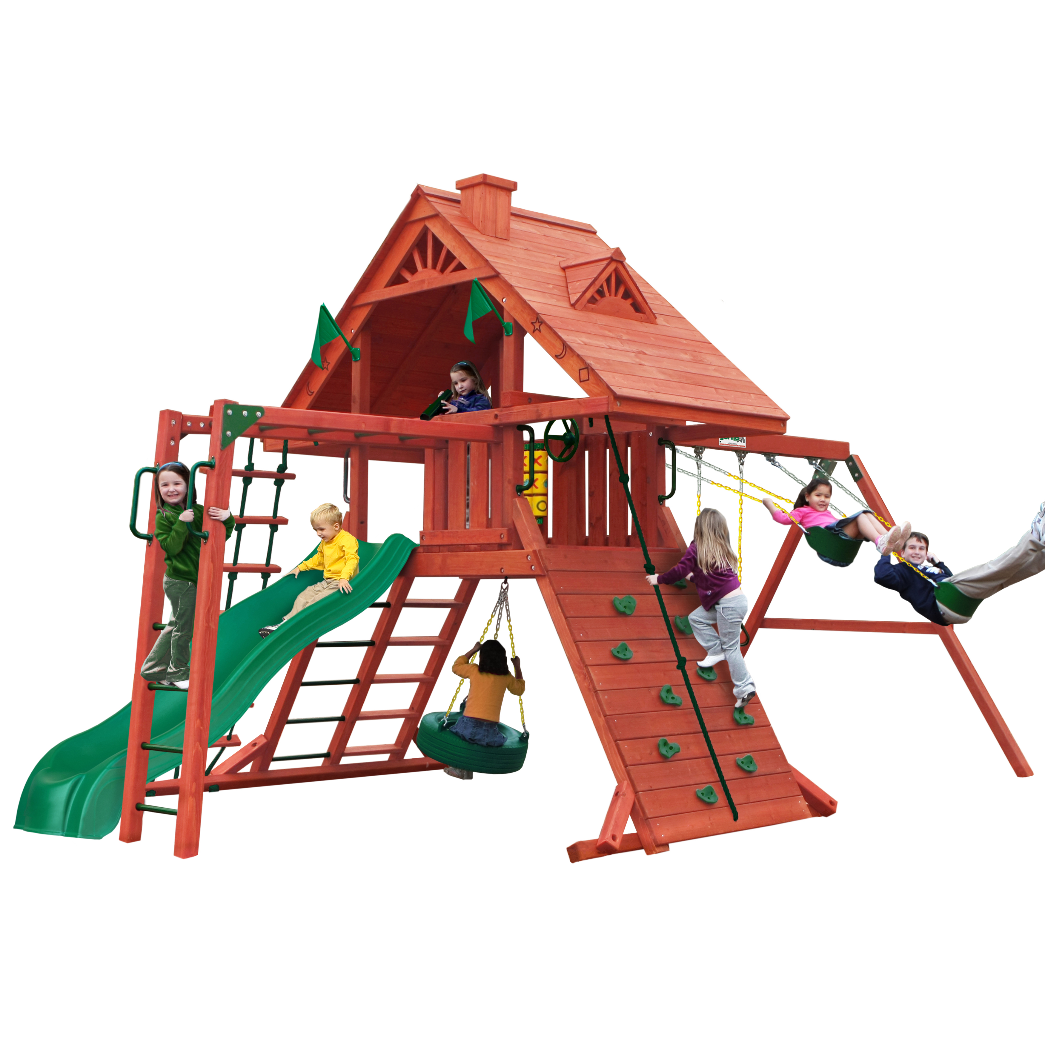 Gorilla Playsets Sun Palace Ii Wooden Swing Set With Rope Ladder