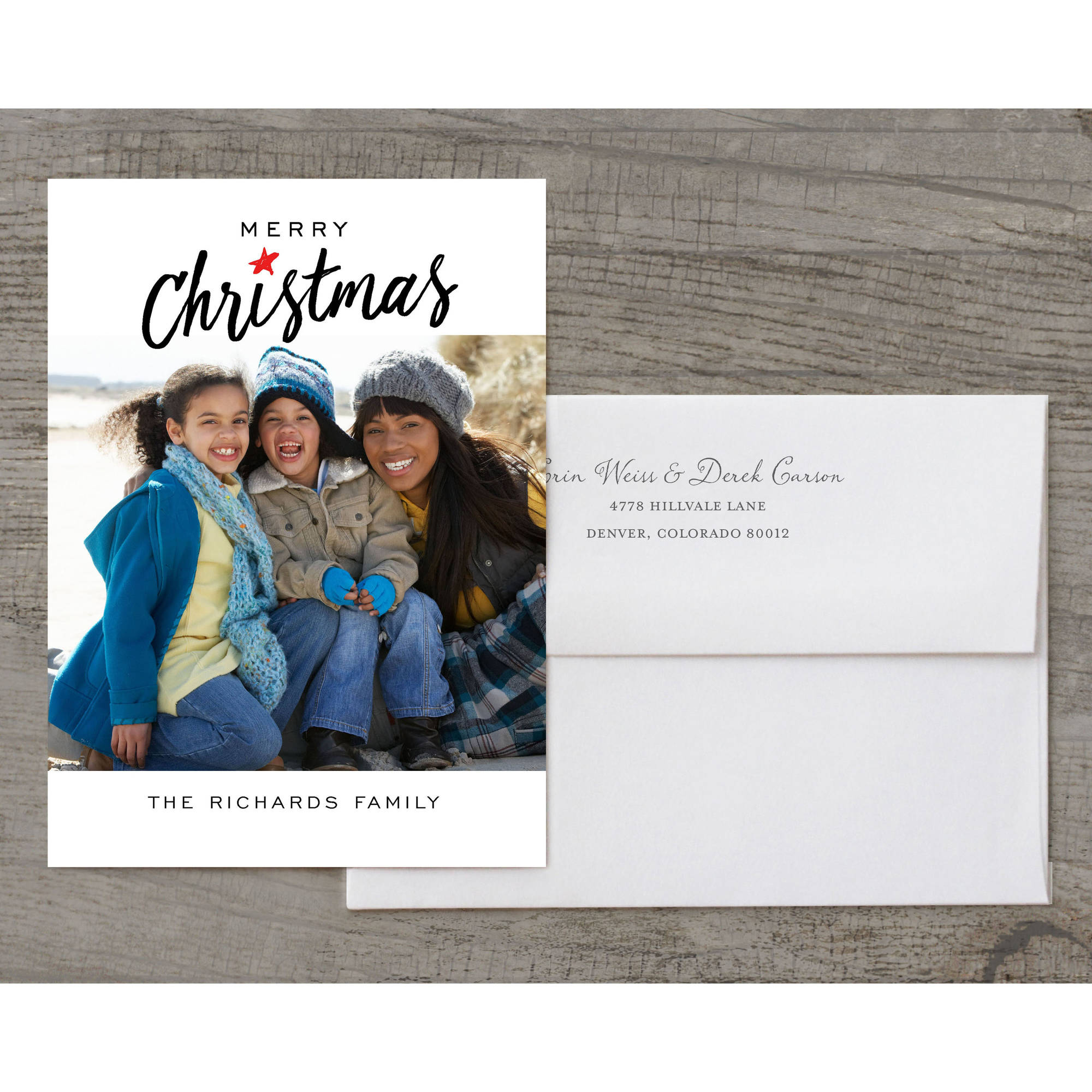 Merry Script - 5x7 Personalized Deluxe Merry Christmas Holiday Card