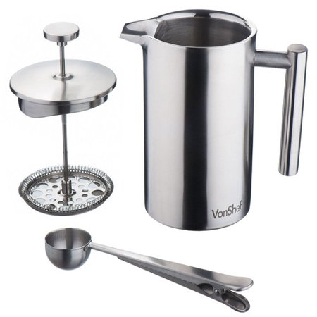 vonshef stainless steel french press cafetiere coffee maker. Black Bedroom Furniture Sets. Home Design Ideas