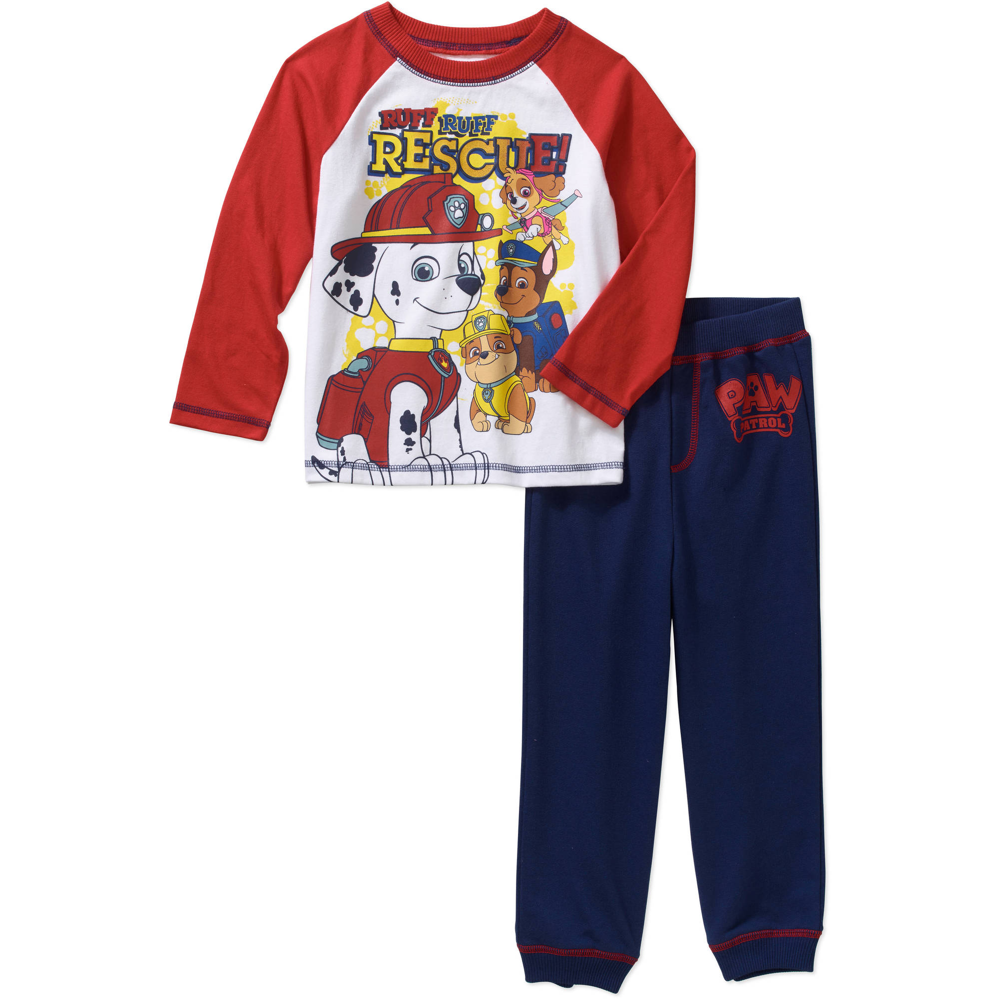 Nickelodeon Paw Patrol Toddler Boys' Raglan Tee and Loop Terry Jogger Pants Outfit Set