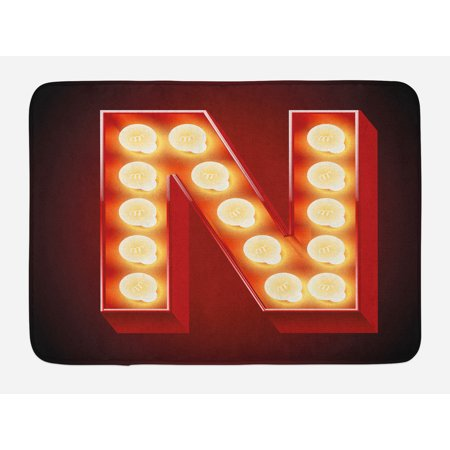 Letter N Bath Mat, Old Fashioned Movie Theater Carnival Casino Entertainment Night Life, Non-Slip Plush Mat Bathroom Kitchen Laundry Room Decor, 29.5 X 17.5 Inches, Vermilion Yellow Black, - Casino Night Decor