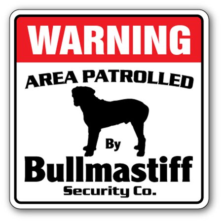 BULLMASTIFF Security Sign Area Patrolled pet purebred AKC dog guard lover vet