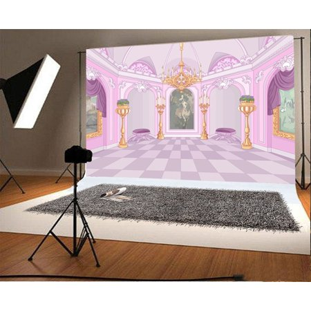 GreenDecor Polyster 7x5ft Fairytale Palace Backdrop Droplight Golden Pillars Flowers Marble Floor Mural Painting Purple Curtain Fantasy Photography Background Girls Princess Photo Studio - Curtain Background