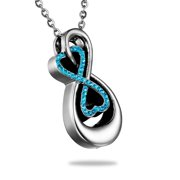 """Stainless Steel Double Infinity Cremation Jewelry Keepsake Memorial Urn Necklace for Friend/Family/Pet(1 4/8"""")"""