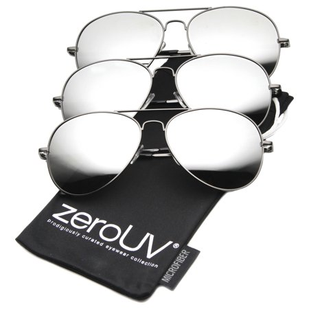 zeroUV - Premium Mirrored Aviator Top Gun Sunglasses w/ Spring Loaded Temples - 58mm The Classic Aviator.