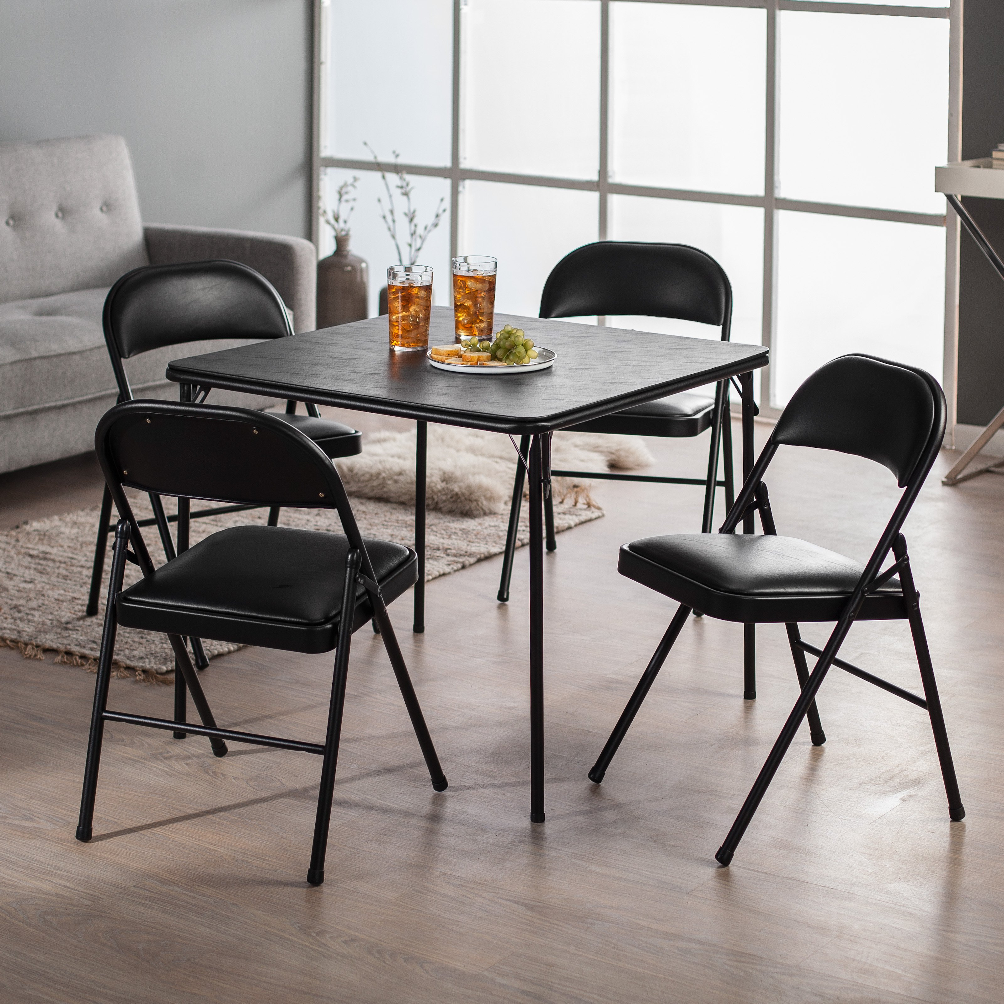 Meco Sudden Comfort Deluxe Double Padded Chair and Back- 5 Piece Card Table Set Black by Meco Corp