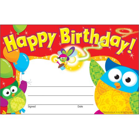 Trend, TEP81044, Happy Birthday Owl-Stars Recognition Awards, 30 / Pack, Multicolor