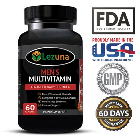Living Multivitamin - Lezuna Men's Daily Multivitamin/Multimineral with Vitamins A, C, E, D, B1, B2, B3, B5, B6, B12, Magnesium, Biotin, Spirulina, Zinc and more - 60 Multivitamins
