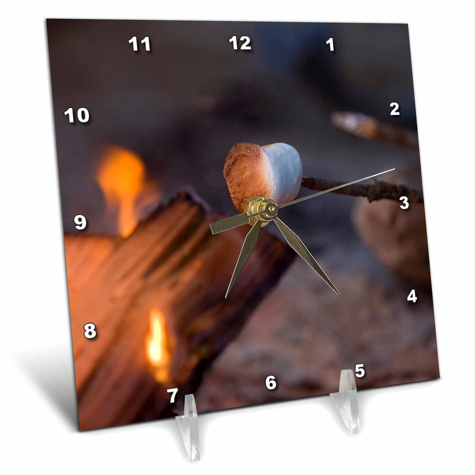 3dRose Marshmallow roasting in campfire, Whitefish Montana US27 CHA1596 Chuck Haney, Desk Clock, 6 by 6-inch by 3dRose