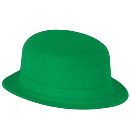 Club Pack of 24 St. Patrick's Day Green Velour Derby Hat Costume Accessories - Velour Hat