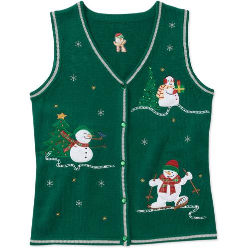 White Stag Women's Snowmen Christmas Sweater Vest