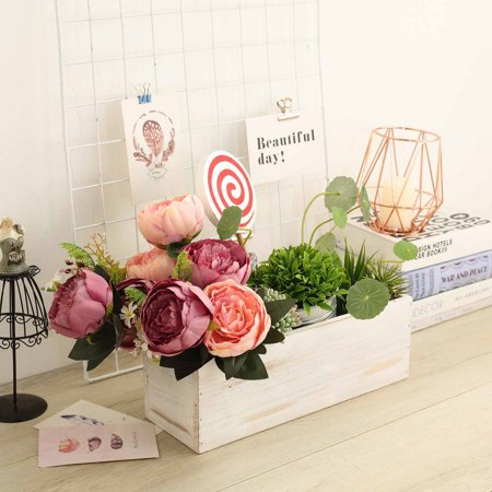 Efavormart 1PC Rectangle Wood Boxes DIY Rustic Wooden Planter Boxes With Plastic Liner For Wedding Party Decoration (Wooden Box Planters)